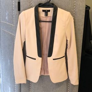 Pink blazer faux leather trim